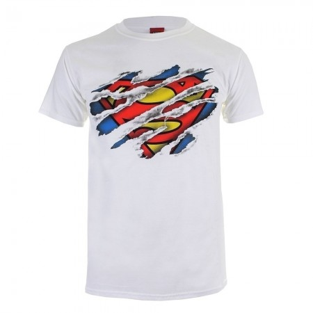 T-shirt - Homme - DC COMICS - Superman Torn Logo - White