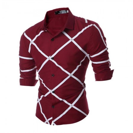Chemise - Amedeo - Burgandy Check - AEDS034