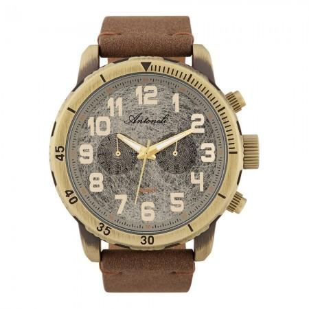 Montre Analogique - Boîtier Bronze - Cadran Gris - Bracelet Marron - Bracelet en Nubuck - ANTS18014