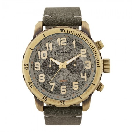Montre Analogique - Boîtier Bronze - Cadran Gris - Bracelet Green - Bracelet en Nubuck - ANTS18017