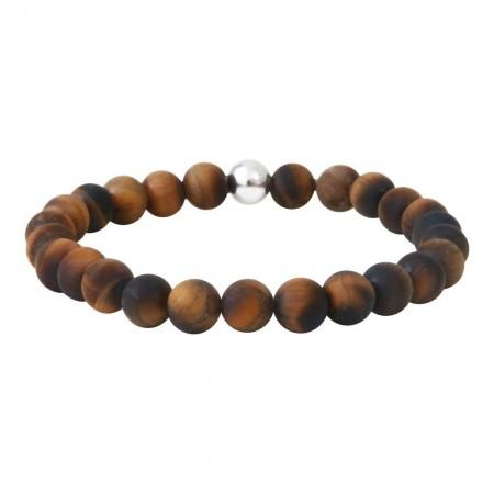 Bracelet en argent et pierre en  oeil de tigre mat