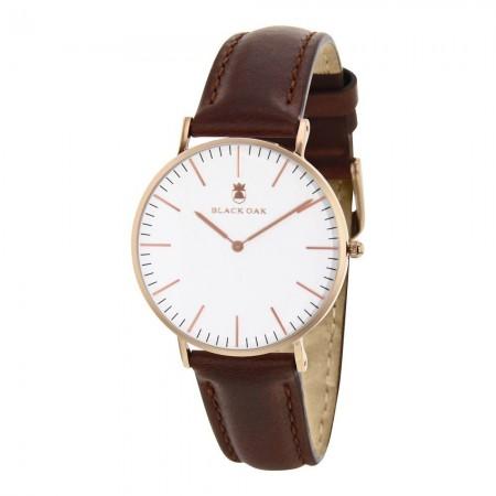 Montre analogique Blanc/Or Rose - Bracelet Cuir Chocolat