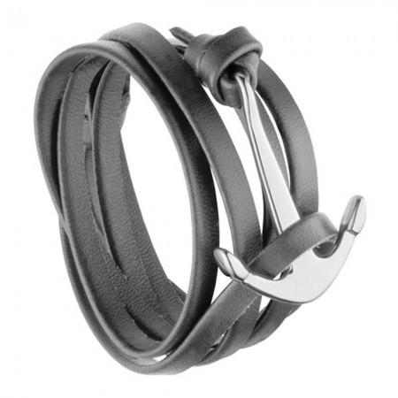 Bracelet ancre en acier et cuir gris