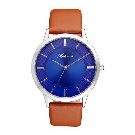 Montre Analogique - Boîtier Argent - Cadran Bleu - Bracelet Cuir Marron - ANT1024