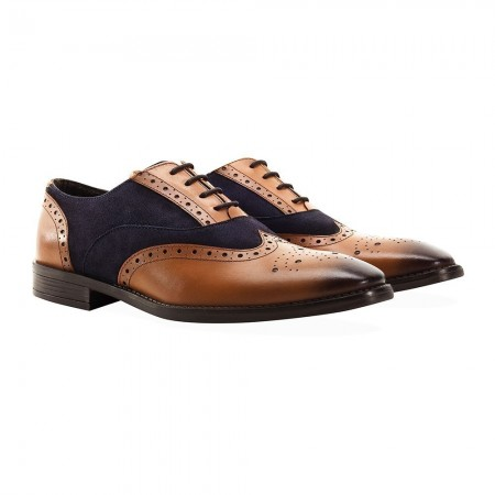 Chaussures basses homme FASHIONS SQUARE TOE GATSBY navy/tan