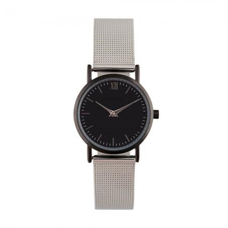 Montre analogique - Boîtier Noir - Cadran Noir - Bracelet Acier Argent