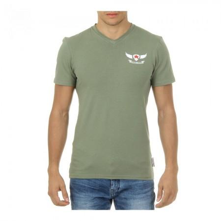 T-shirt col en V coupe slim - Vert - 2
