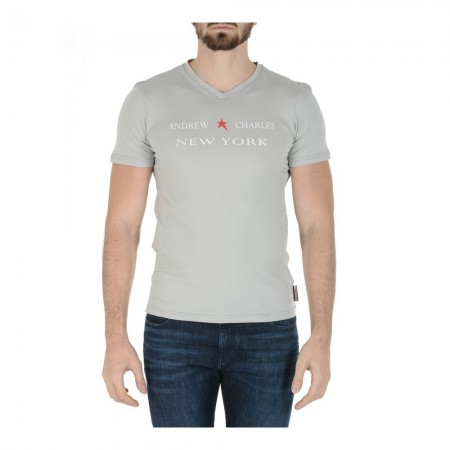 T-shirt col en V coupe slim - Gris Clair - 3