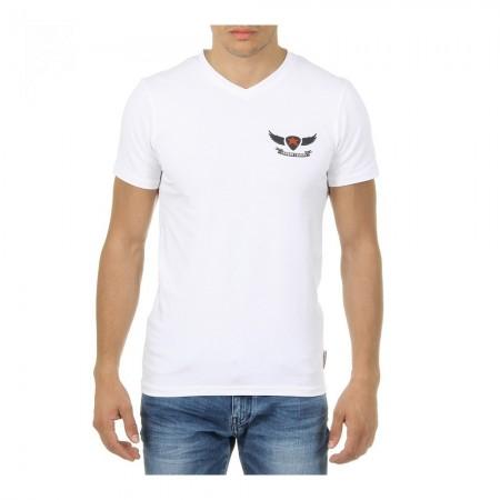 T-shirt col en V coupe slim - Blanc - 2
