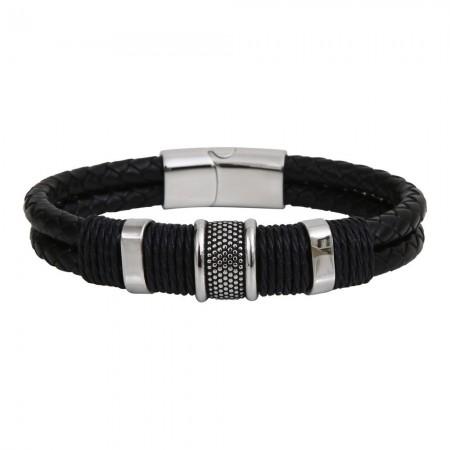 Bracelet métal et cuir noir 2