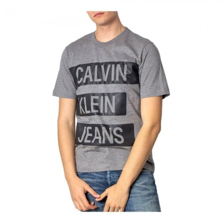 Tee Shirt Bande Logo - CALVIN KLEIN - Mid Grey Heather / Black - J30J314199-P2D