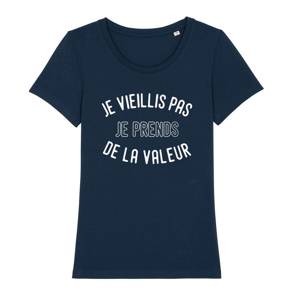 T-Shirt - Femme - ENKR - Je vieillis pas je prends de la valeur ENKR - Navy - ENKR0412