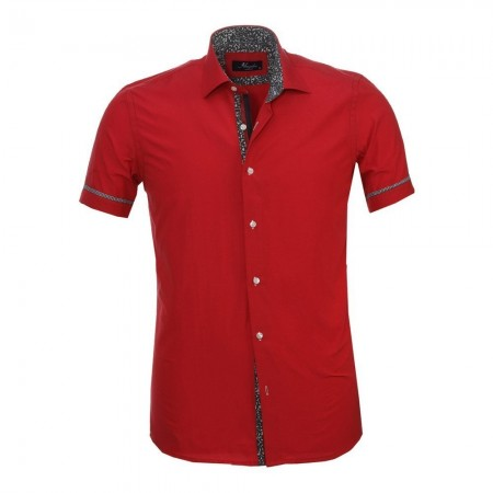 Chemise - Amedeo - Solid Red / Paisley - AESS8433