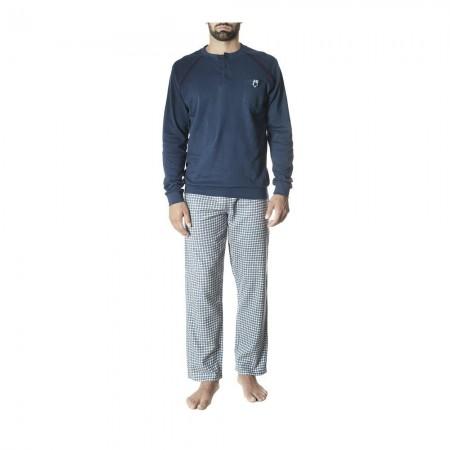 Pyjama en coton à manches longues et pantalon - Bleu Denim - 96682487O28256