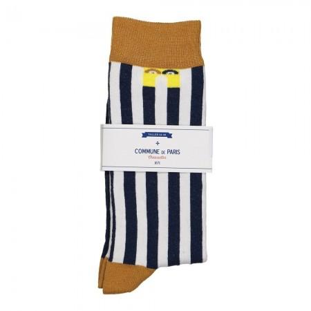 Chaussettes - Echasses - Bleu marine et Rayures