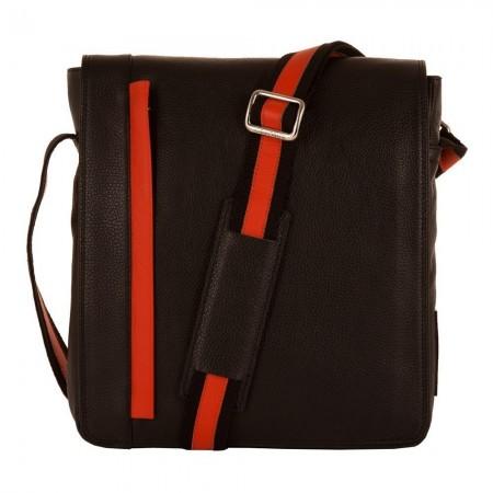 Sacoche Bicolore Large Noir & Orange 24x26x2 cm