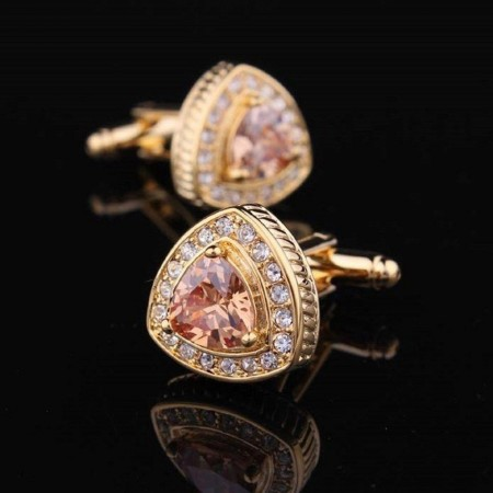 Boutons de manchette - Amedeo - Gold With Orange Stone Triangle - AEC030