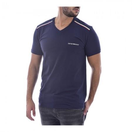 Tee shirt stretch avec liseret - EMPORIO ARMANI - 00135 Blue - 111556 0A510