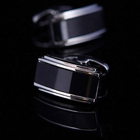 Boutons de manchette - Amedeo - Black Onyx Rectangles - AEC075
