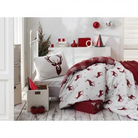 Housse de couette 140x200 + 1 Taie d'oreiller 60x60 - Claret Red / White - 143EPJ34251