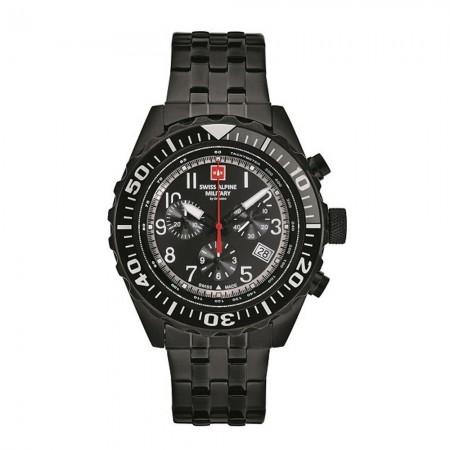 Montre Analogique - Noir - Swiss Alpine Military - Bracelet Acier Noir - 7076.9177
