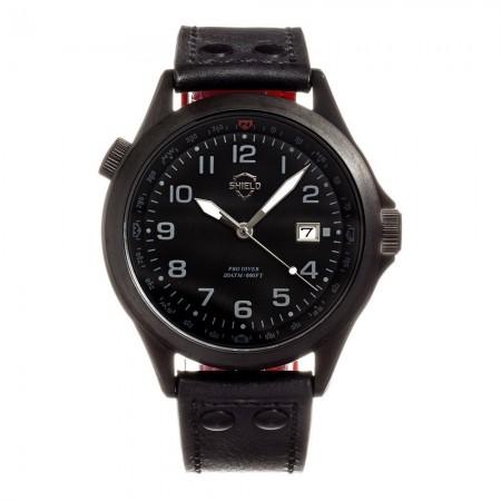 Montre SHIELD Palau - Black-Black / Black - Bracelet Cuir Black