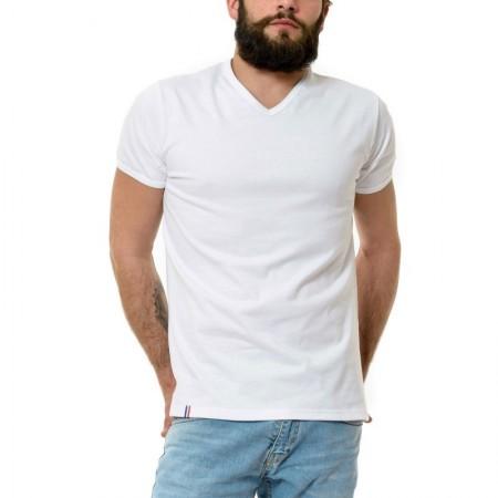 T-Shirt Manches Courtes Homme Col V Blanc 31866ff78513