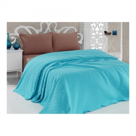 Couvre lit 140 x 200 - 2 - Turquoise - Turquoise