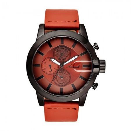 Montre Analogique - Boîtier Noir - Cadran Marron - Bracelet Marron - Bracelet en Cuir - AG1901-05