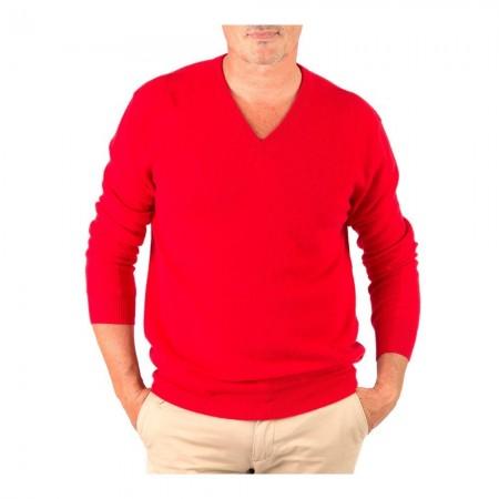 Pullover Col V - Red - 100% cashmere