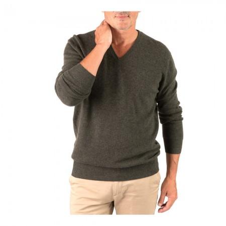 Pullover Col V - Dark Green - 100% cashmere