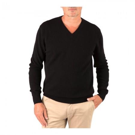 Pullover Col V - Black - 100% cashmere