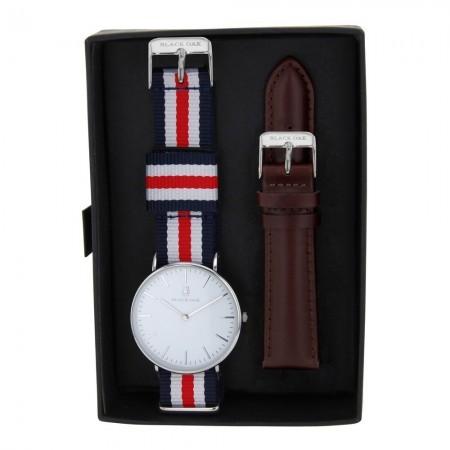Coffret Montre analogique Blanc/Argent - Bracelet Cuir & Nato Bleu Blanc Rouge/Marron