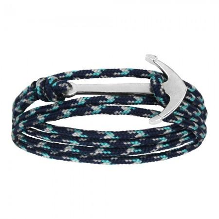 Bracelet Ancre En Acier Et Lien Synthétique - 60cm - BR2654S marine et bleu