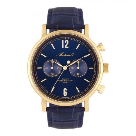 Montre Analogique - Boîtier Or - Cadran Bleu - Bracelet Bleu - Bracelet en Cuir + PU - ANTS18006