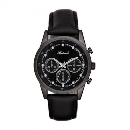 Montre Analogique - Boîtier Noir - Cadran Noir - Bracelet Cuir Noir - AL5300-03
