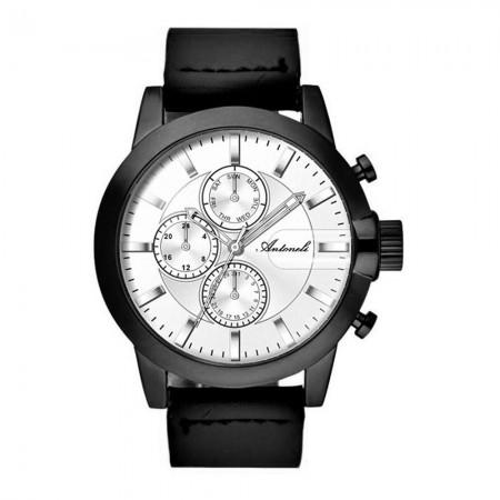 Montre Analogique - Boîtier Noir - Cadran Blanc - Bracelet Cuir Noir - AG1901-17