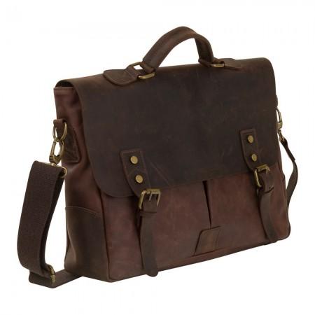 Briefcase en cuir - Marron Foncé - 37x30x10 cm