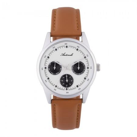 Montre Analogique - Boîtier Argent - Cadran Blanc - Bracelet Marron - Bracelet en Cuir + PU - ANTS18074