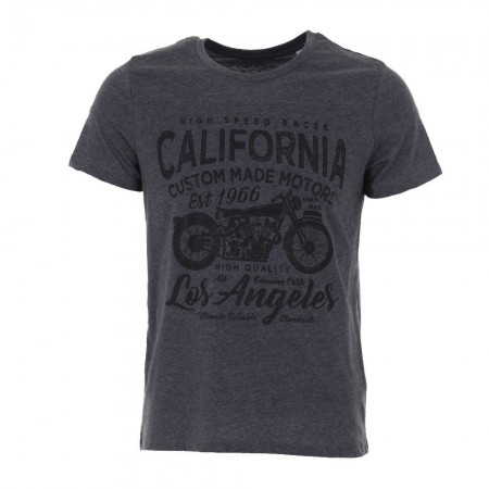 Tee-shirt MC homme CALIFORNIA bleu chiné