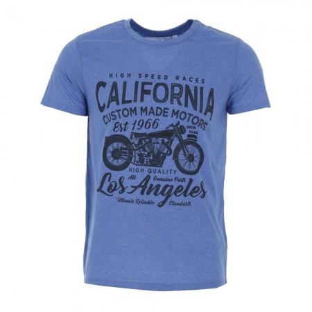 Tee-shirt MC homme CALIFORNIA bleu clair chiné