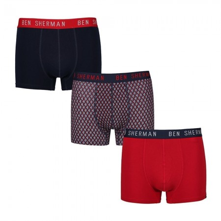 Lot de 3 boxers homme WESTON navy/geo print/red