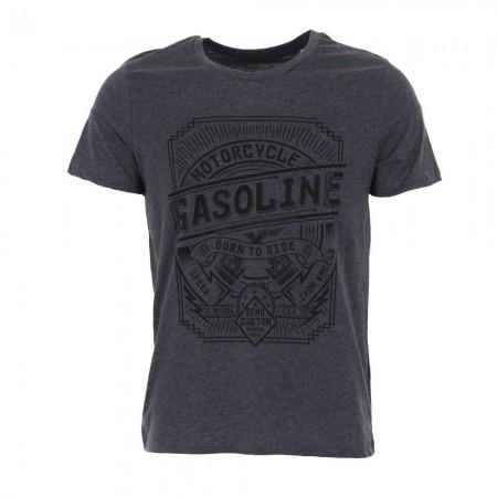 Tee-shirt MC homme GAZOLINE bleu chiné