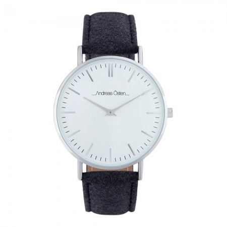 Montre analogique - Boîtier Argent - Cadran Blanc - Bracelet Tweed Gris - 18007