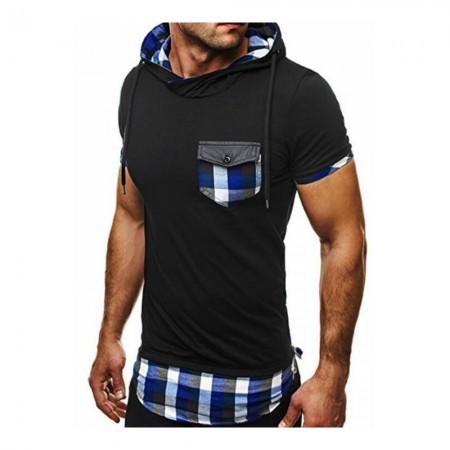 T-Shirt - Black Blue Plaid - CESH026
