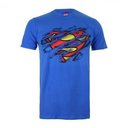 T-shirt - Homme - DC COMICS - Superman Torn Logo - Royal