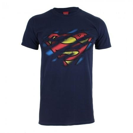 T-shirt - Homme - DC COMICS - Superman Torn Logo - Navy