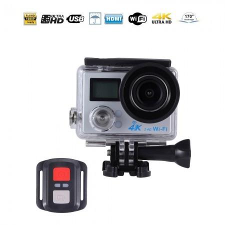 Caméra sportive Ultra HD 4K wifi double écran LCD - Avec télécommande - Argentée - GP267