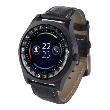Montre connectée casual - iOS/Android - avec bracelet cuir végétal croco - noir - VT60